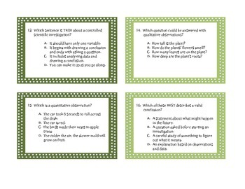 Science Process Skills and the Scientific Method:  GAME and TASK CARDS