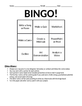 Science Project BINGO