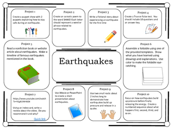 Science Project Choice Board: Earthquakes- 10 Projects