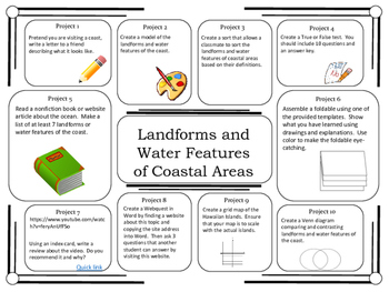 Science Project Choice Board: Landforms of Coastal Areas- 10 Projects