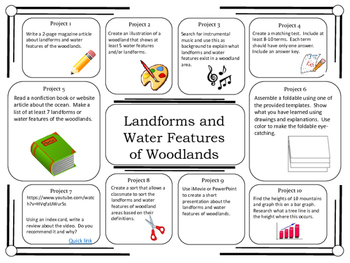 Science Project Choice Board: Landforms of Woodlands/Mountains- 10 Projects