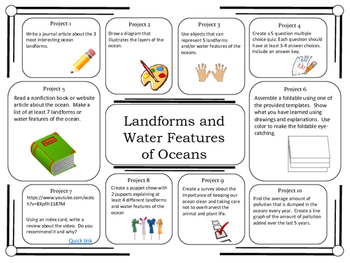 Science Project Choice Board: Landforms of the Oceans- 10 Projects