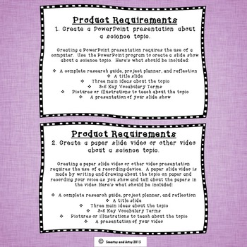 Science Project Choice Board Packet with Research Guide and Rubric