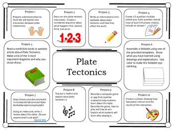 Science Project Choice Board: Plate Tectonics- 10 Projects