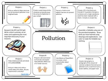 science project choice board pollution 10 projects
