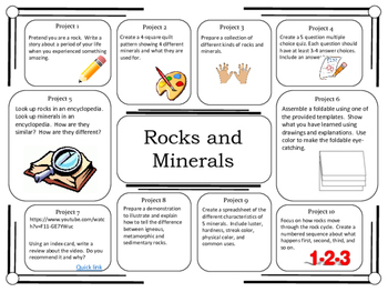 Science Project Choice Board: Rocks and Minerals- 10 Projects