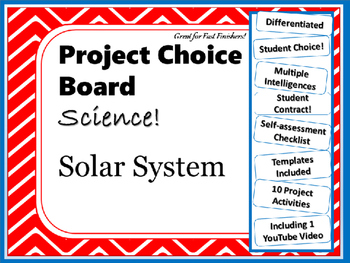 Science Project Choice Board: The Solar System- 10 Projects
