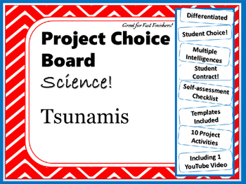 science project choice board tsunamis 10 projects
