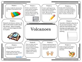 Science Project Choice Board: Volcanoes- 10 Projects
