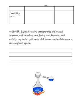 Science: Properties of Matter Worksheet