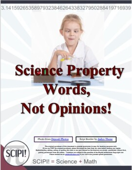 Science Property Words - Not Opinions!