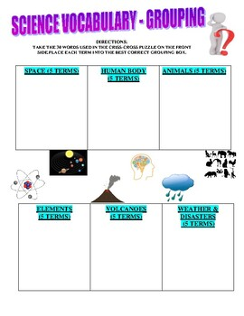 Science Puzzle (Vocabulary / Grouping)