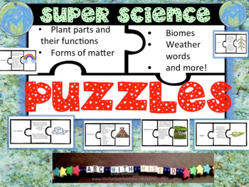 Science Puzzles-Weather,biomes, plants, animals, life cycles, matter and more!