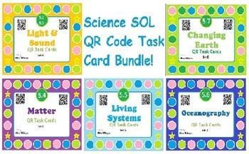 Science QR Code Task Cards Bundles - SOL's 5.2-5.7 - 5 Sets of 20+ cards!