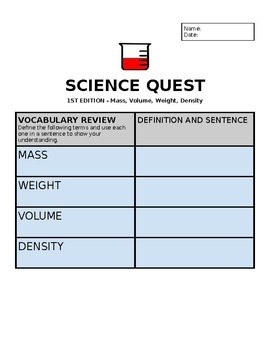 Science Quest: Mass, Volume, Weight, Density