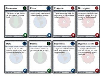 Science Quest - elementary science vocabulary flash card game 100+ cards