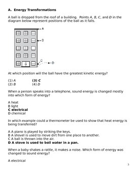 Middle School Science Question Bank - Forms/Transformations of Energy