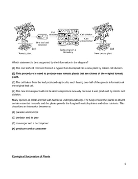 Free Biology Question Bank - Plant Process, Structure, & Function