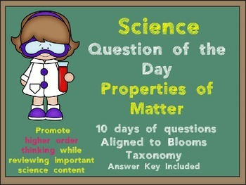 Science Question of the Day- Properties of Matter for 3rd Grade