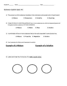 Science Quick Quiz #1