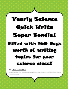 Science Quick Write Bell Ringer Yearly Bundle