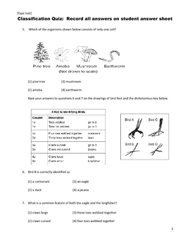 Middle School Science Quiz - Classification