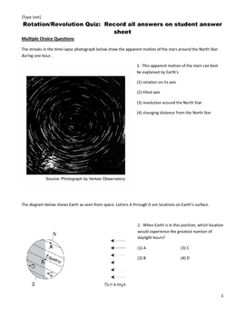 Middle School Science Quiz - Earth Rotation and Revolution