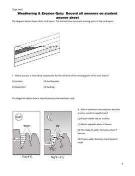 Middle School Science Quiz - Earth's Changing Surface