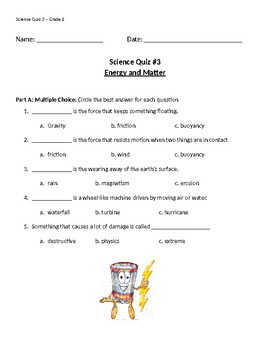 Science Quiz - Energy and Matter: Grade 2