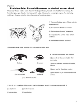 Middle School Science Quiz - Evolution, Natural Selection, & Adaptation