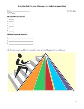 Middle School Science Quiz - Nutrition