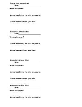 Science Quiz Soil-short, basic