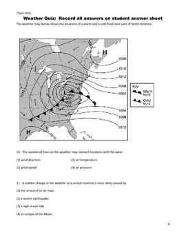 Middle School Science Quiz - Weather