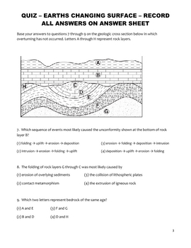 Science Quiz - Weathering, Erosion, and Deposition