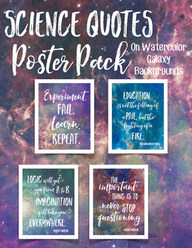 science quotes watercolor galaxy poster pack galaxies classroom posters teacher quote teacherspayteachers nerd