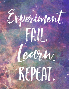 science quotes watercolor experiment fail repeat learn poster galaxy pack galaxies sayings juli cannon created preview