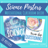Science Quotes Posters: Outer Space Theme Watercolor Decor for Middle School