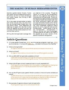 Science Literacy Reading #11 - The Making of Human Hermaphrodites - Sub Plan
