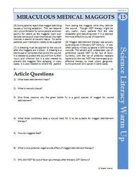 Science Literacy Reading #13 - Miraculous Medical Maggots - Science Sub Plan