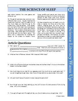 Science Literacy Reading #15 - The Science of Sleep - Secondary Science Sub Plan