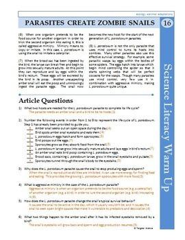 Science Literacy Reading #16 - Parasites Create Zombie Snails - Science Sub Plan