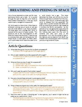Science Literacy Reading #17 - Breathing and Peeing in Space - Science Sub Plan