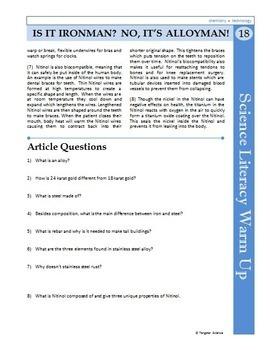 Science Literacy Reading #18- Is it Ironman? No, it's Alloyman!- Sciene Sub Plan