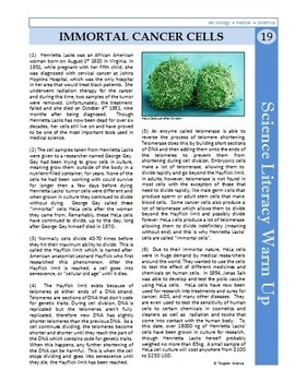 Science Literacy Reading #19 - Immortal Cancer Cells- Secondary Science Sub Plan