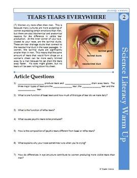 Science Literacy Reading #2 - Tears Tears Everywhere - Science Sub Plan