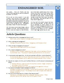 Science Literacy Reading #20 - Endangered Soil - Secondary Science Sub Plan