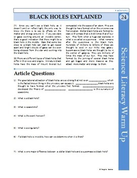 Science Literacy Reading #24 - Black Holes Explained- Secondary Science Sub Plan