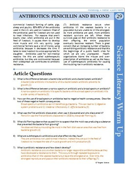 Science Literacy Reading #29 - Antibiotics: Penicillin and Beyond - Sub Plan