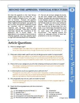 Science Literacy Reading #3- Appendix and Vestigial ...