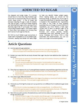 Science Literacy Reading #30 - Addicted to Sugar - Secondary Science Sub Plan